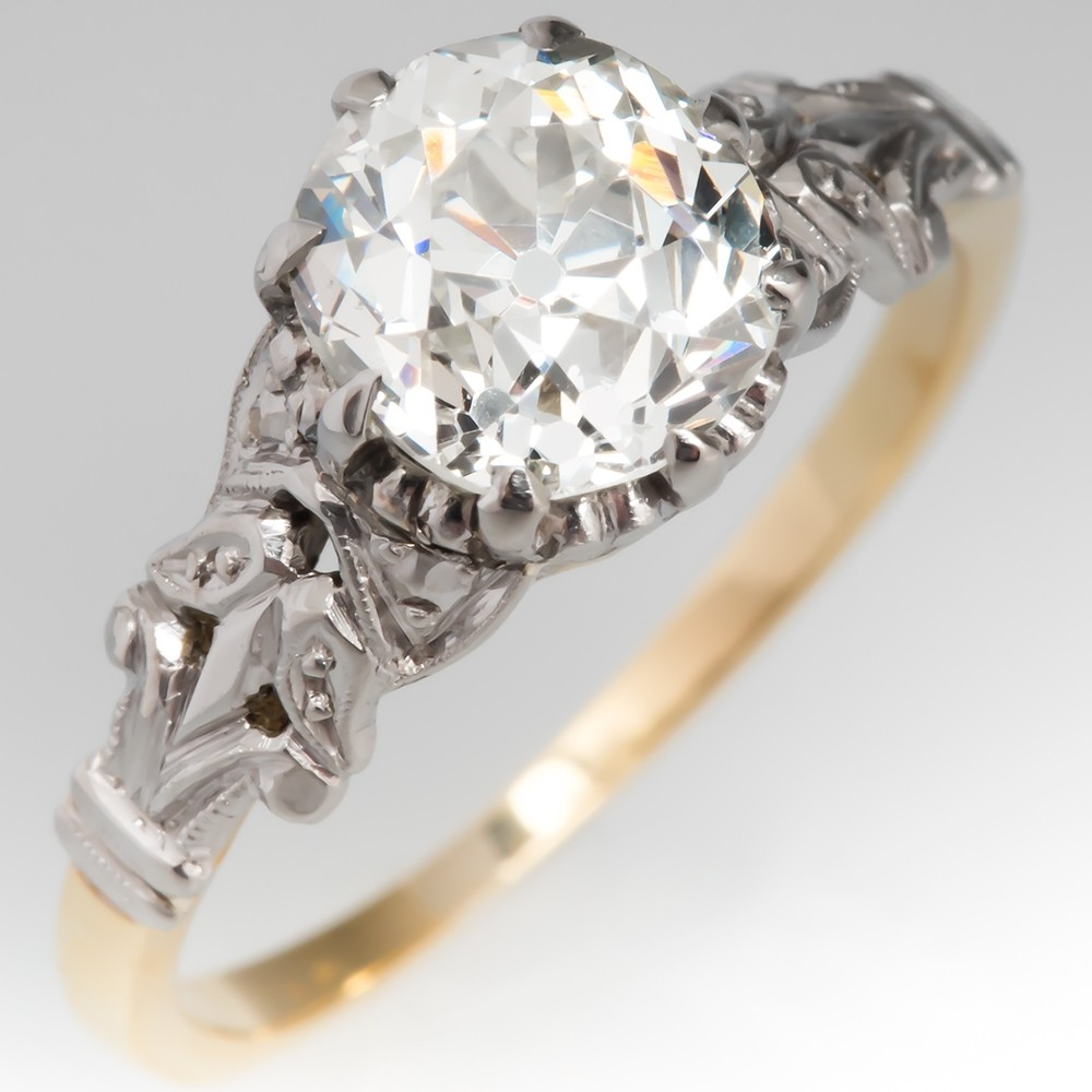 Victorian Engagement Ring 1.4 Carat Antique Diamond 18K & Platinum