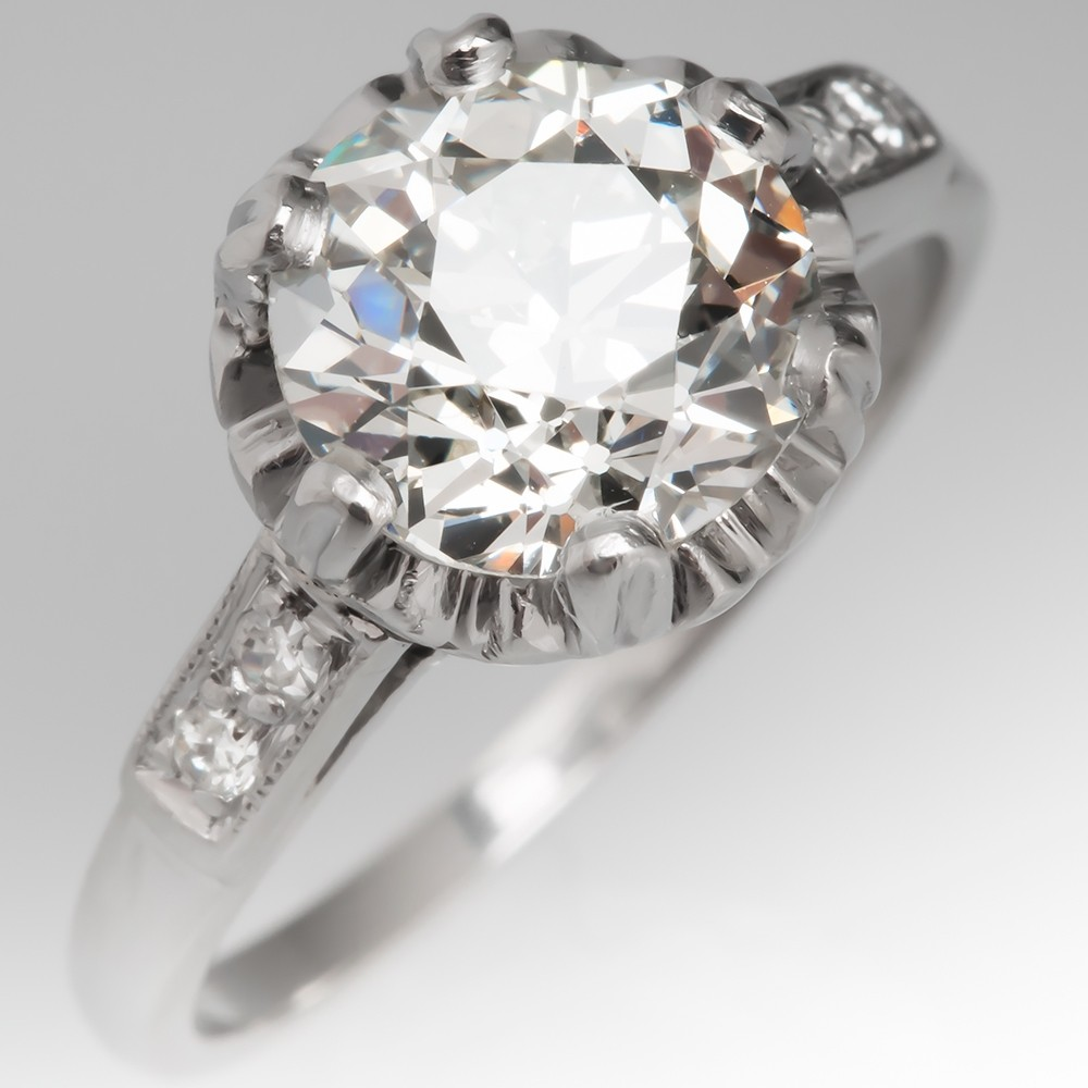 Edwardian Buttercup Old European Cut Diamond Engagement Ring 1920's