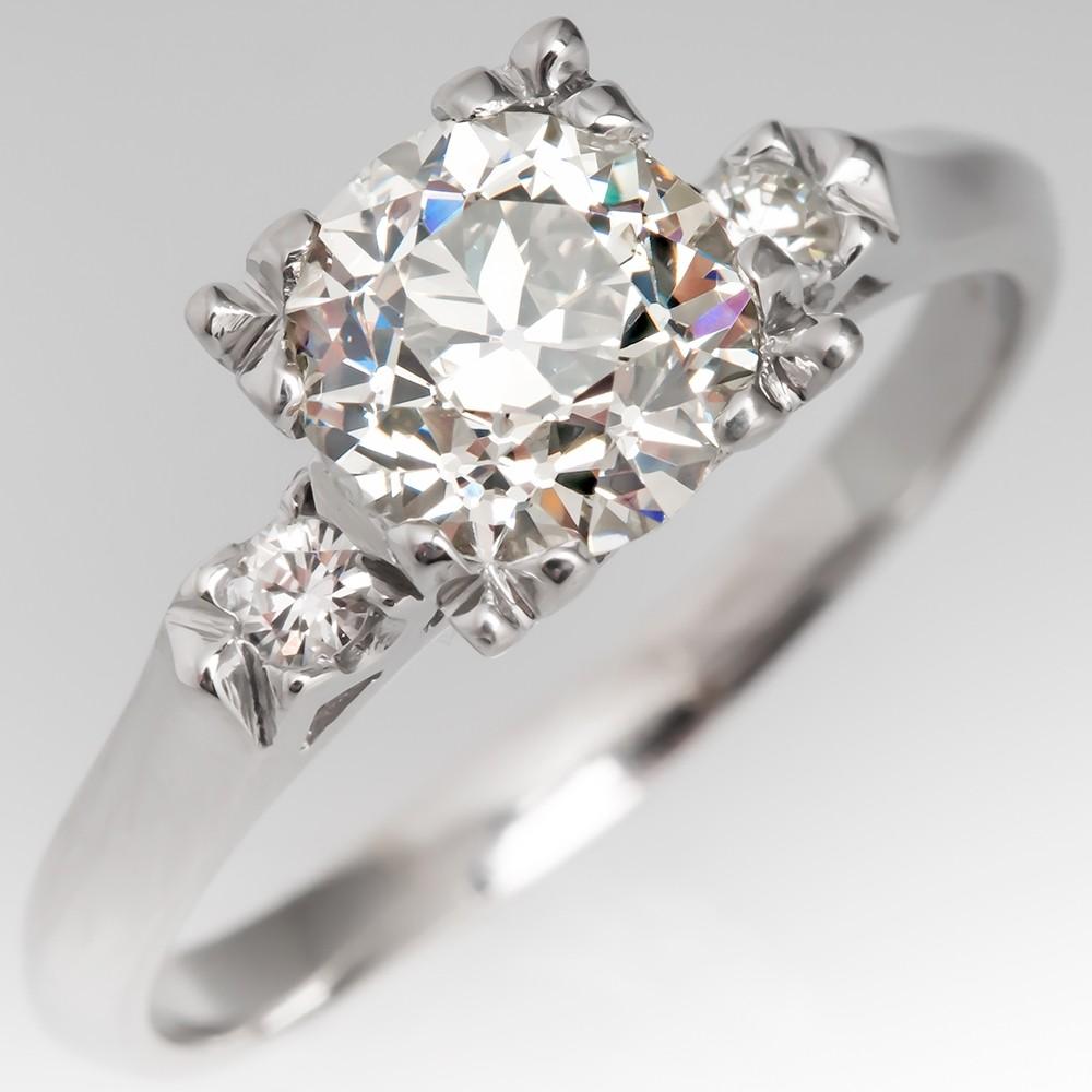 1950's Engagement Ring 1.5 Carat Old Euro Diamond Fishtail Head