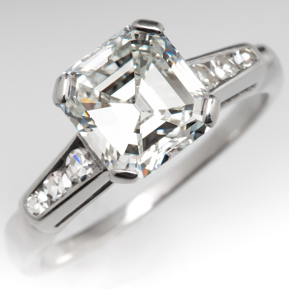 b9b9659b181ce Mid-Century Square Emerald Cut Diamond Engagement Ring Platinum