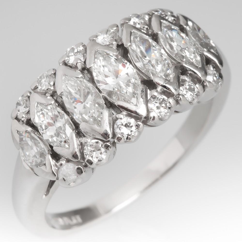 Vintage Anniversary Ring Marquise & Round Diamonds Platinum