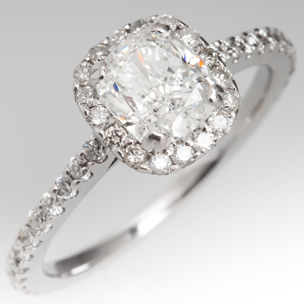 GIA 1 Carat Cushion Cut Diamond Halo Engagement Ring 14K