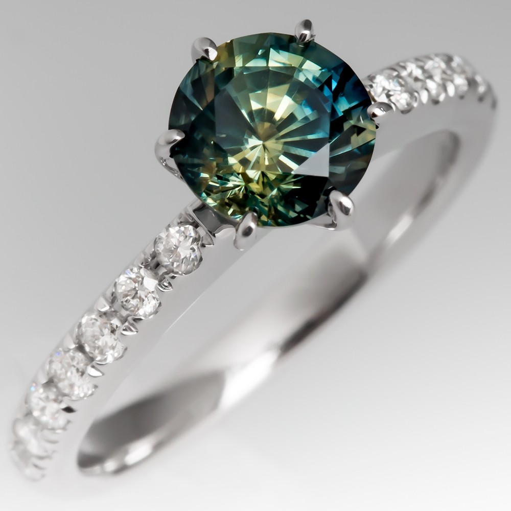 Stunning No Heat Blue-Green Sapphire Engagement Ring 18K