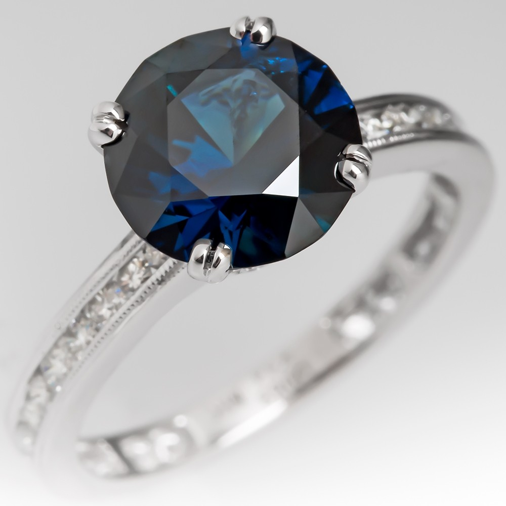 2.8 Carat Dark Rich Blue Green Sapphire Engagement Ring 14K