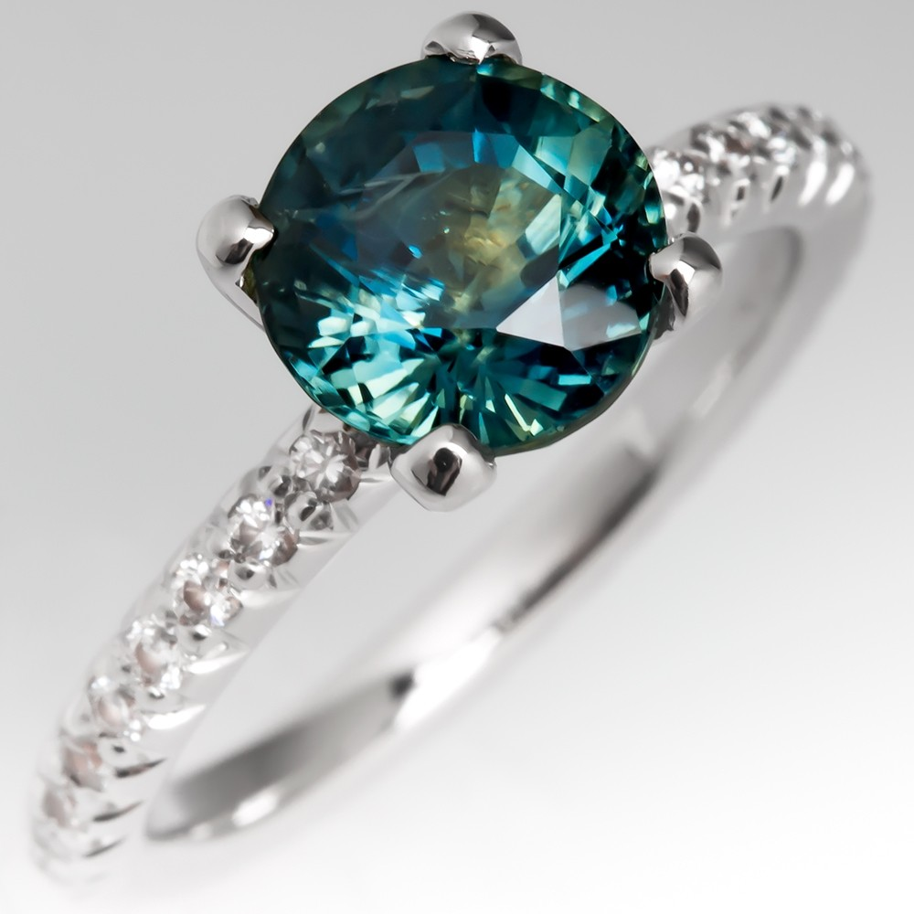 No Heat Blue Green Sapphire Engagement Ring, Size 6