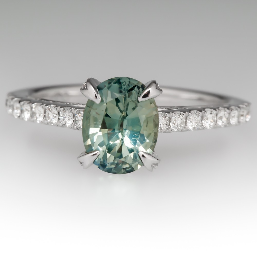 Pastel Light Green Sapphire Engagement Ring 14K White Gold