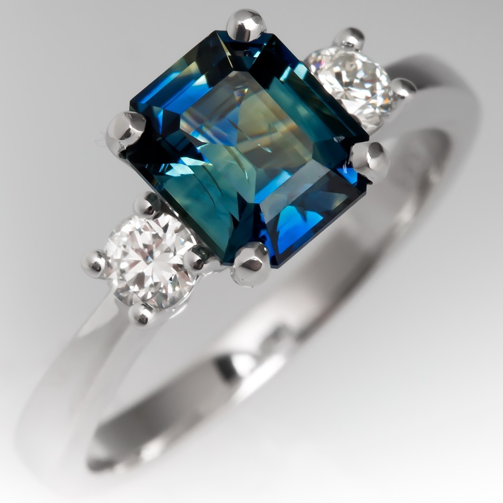 Shimmery No Heat Emerald Cut Blue Green Sapphire Engagement Ring