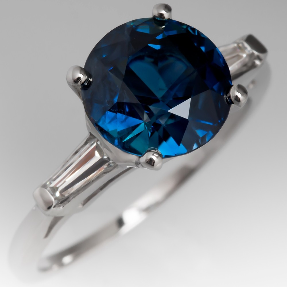 3.4 Carat No Heat Blue-Green Sapphire Engagement Ring Vintage Mount