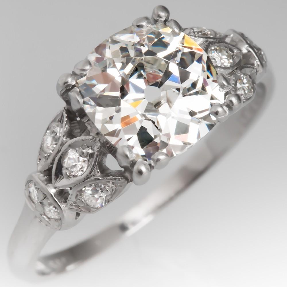 Antique Engagement Ring Old Mine Cut Diamond Floral Platinum