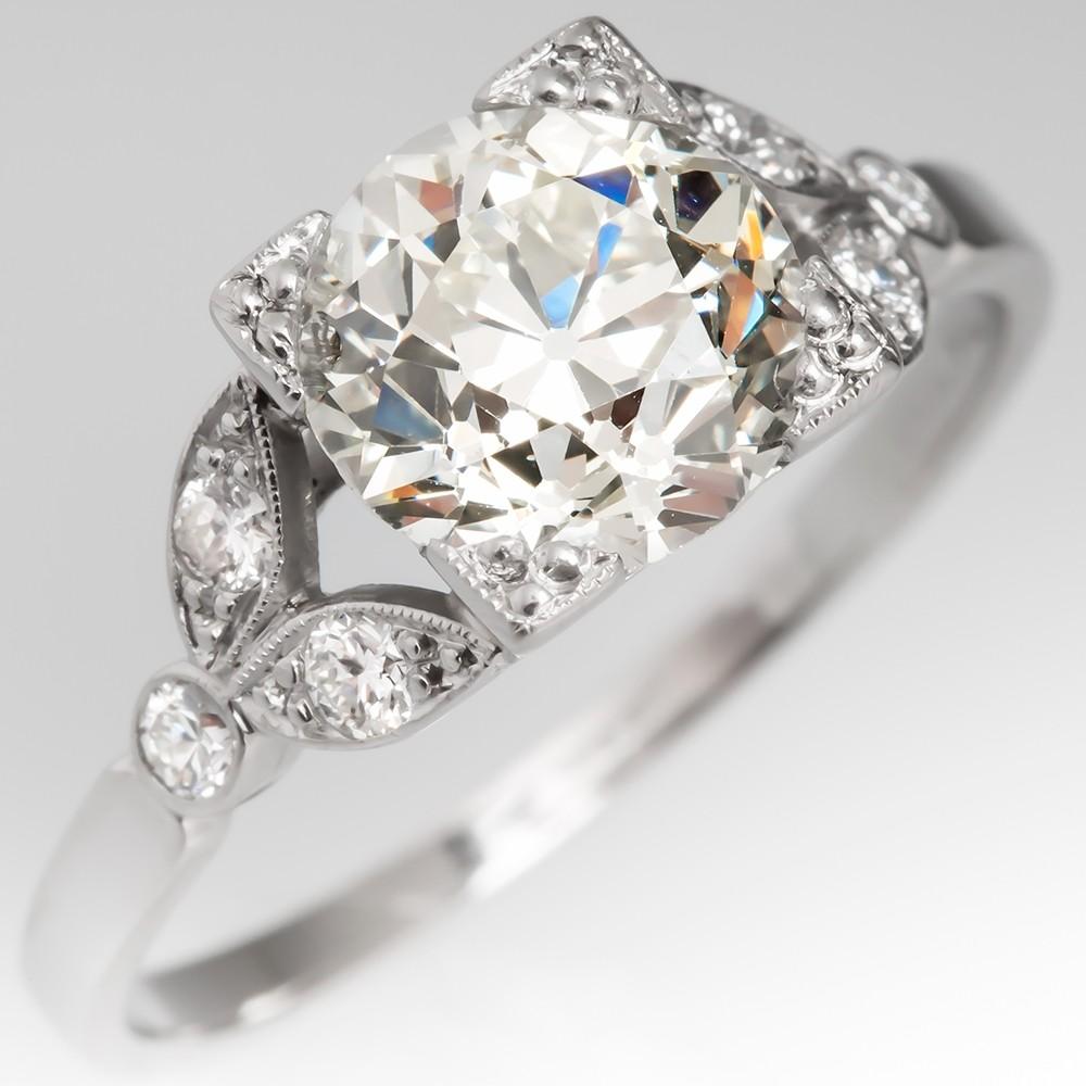 Floral Antique Engagement Ring 1.7 Carat Old Euro Diamond