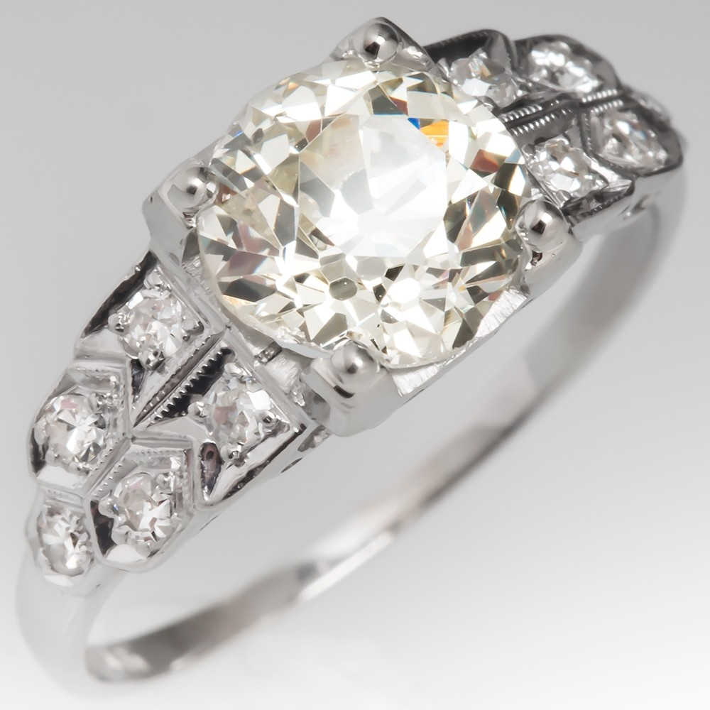 1.5 Carat Old Mine Cut Diamond Art Deco Engagement Ring