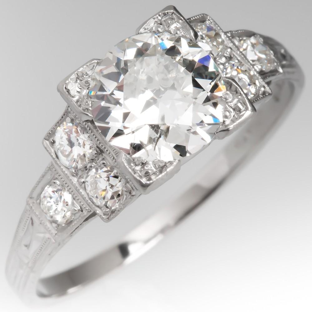 Art Deco Engagement Ring Old European Cut Diamond 1.66Ct G/I1