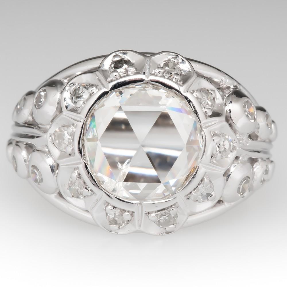 Large Rose Cut Diamond Wide Band Vintage Ring 18K