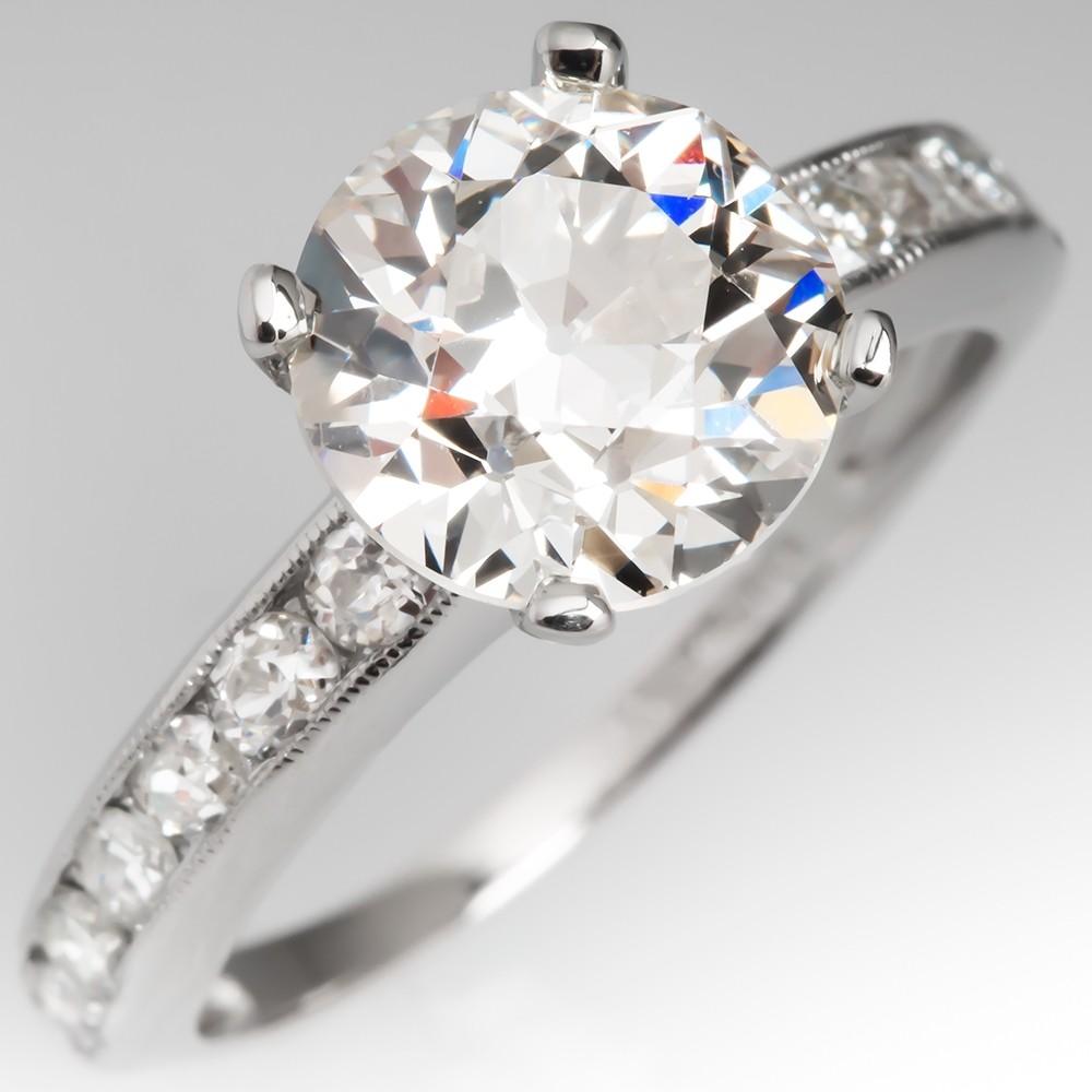 2.3 Carat Old European Cut Diamond Vintage Engagement Ring
