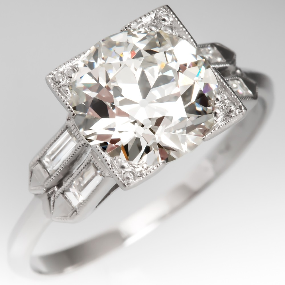 Stunning Diamond Vintage Engagement Ring 2.37CT K/VS1