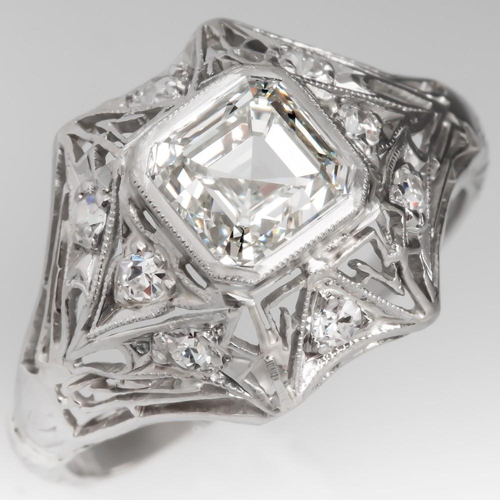 Asscher Cut Diamond Ornate Platinum Vintage Filigree Engagement Ring