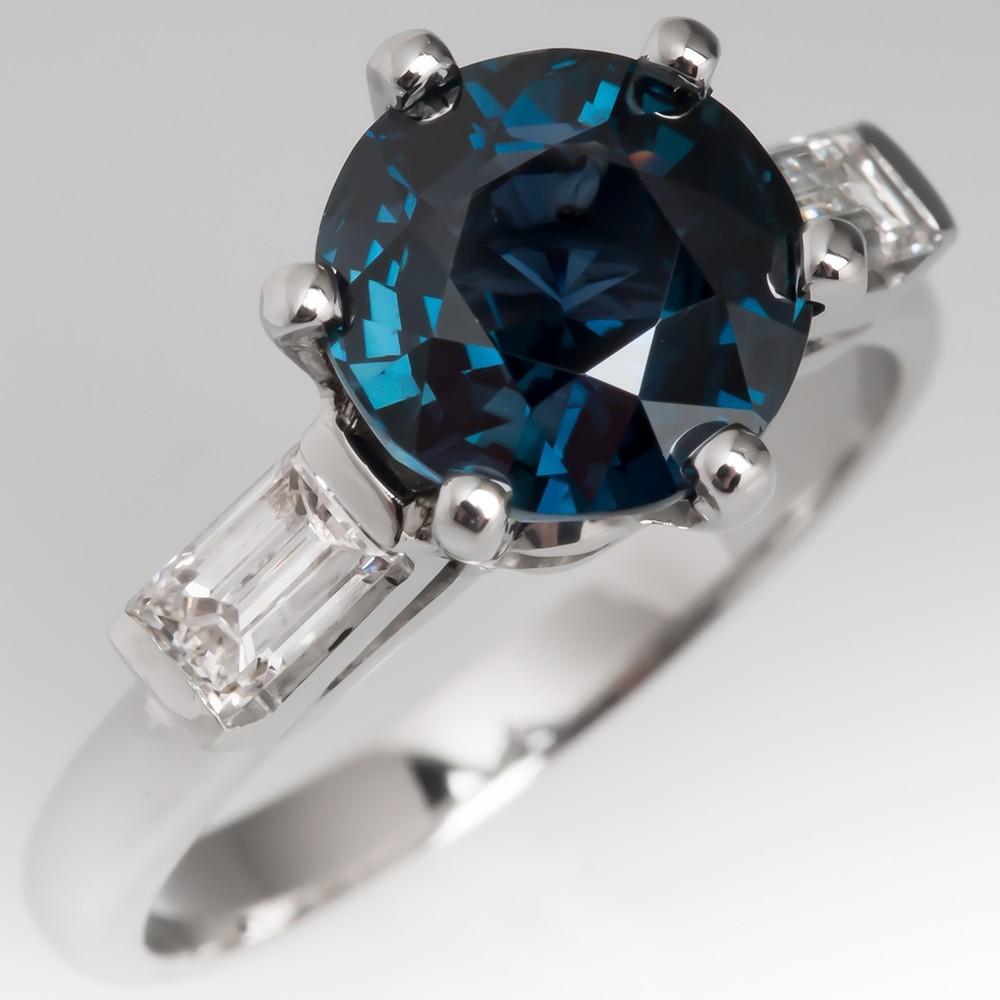 Vibrant 3 Carat Blue-Green Sapphire Engagement Ring Platinum