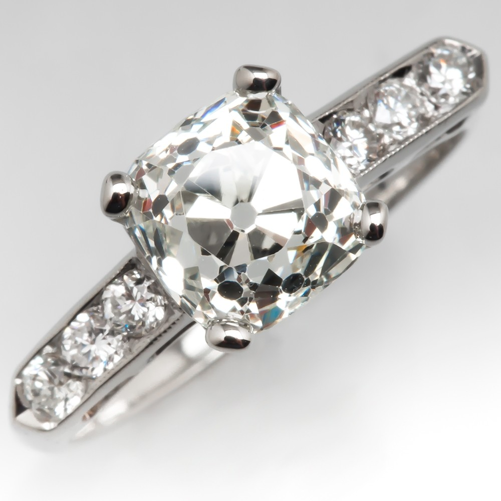 2.5 Carat Old Mine Cut Heirloom Diamond Engagement Ring