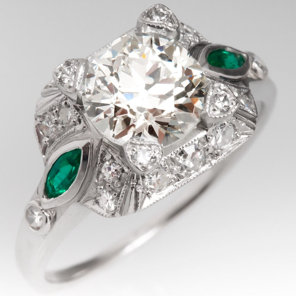 Vintage Old Euro Diamond Filigree Engagement Ring w/ Emeralds