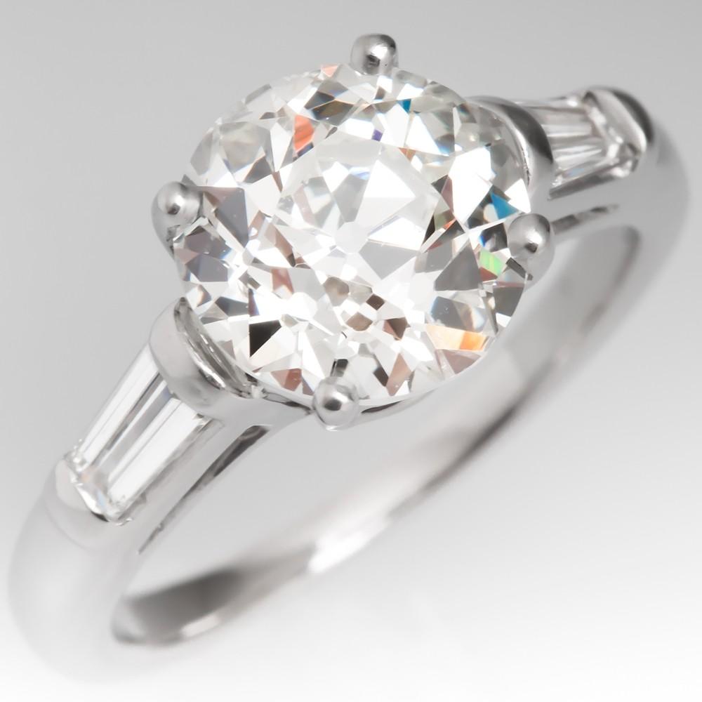 GIA 2.6 Carat Old European Cut Diamond Engagement Ring