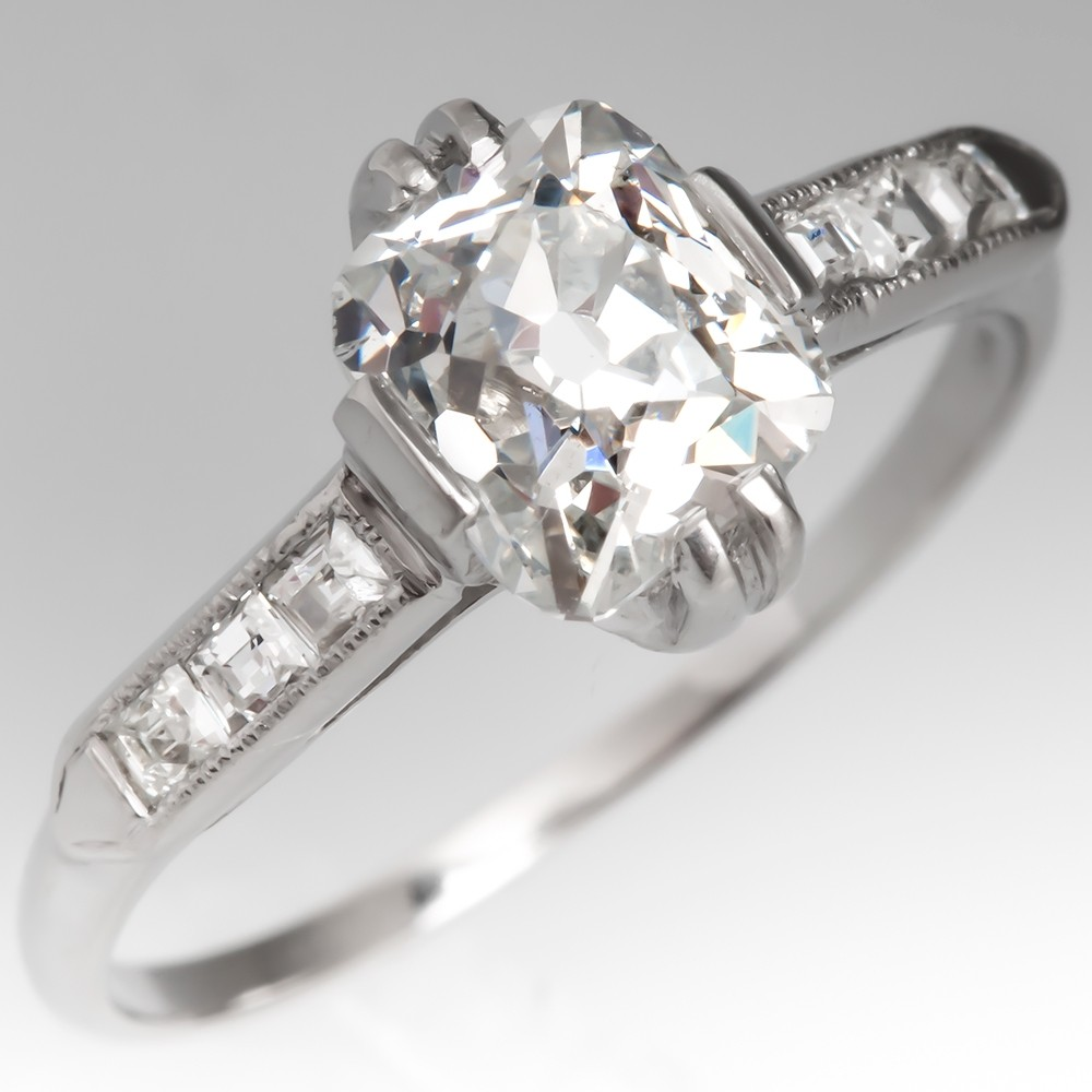 GIA 1 Carat Diamond Antique Engagement Ring Platinum