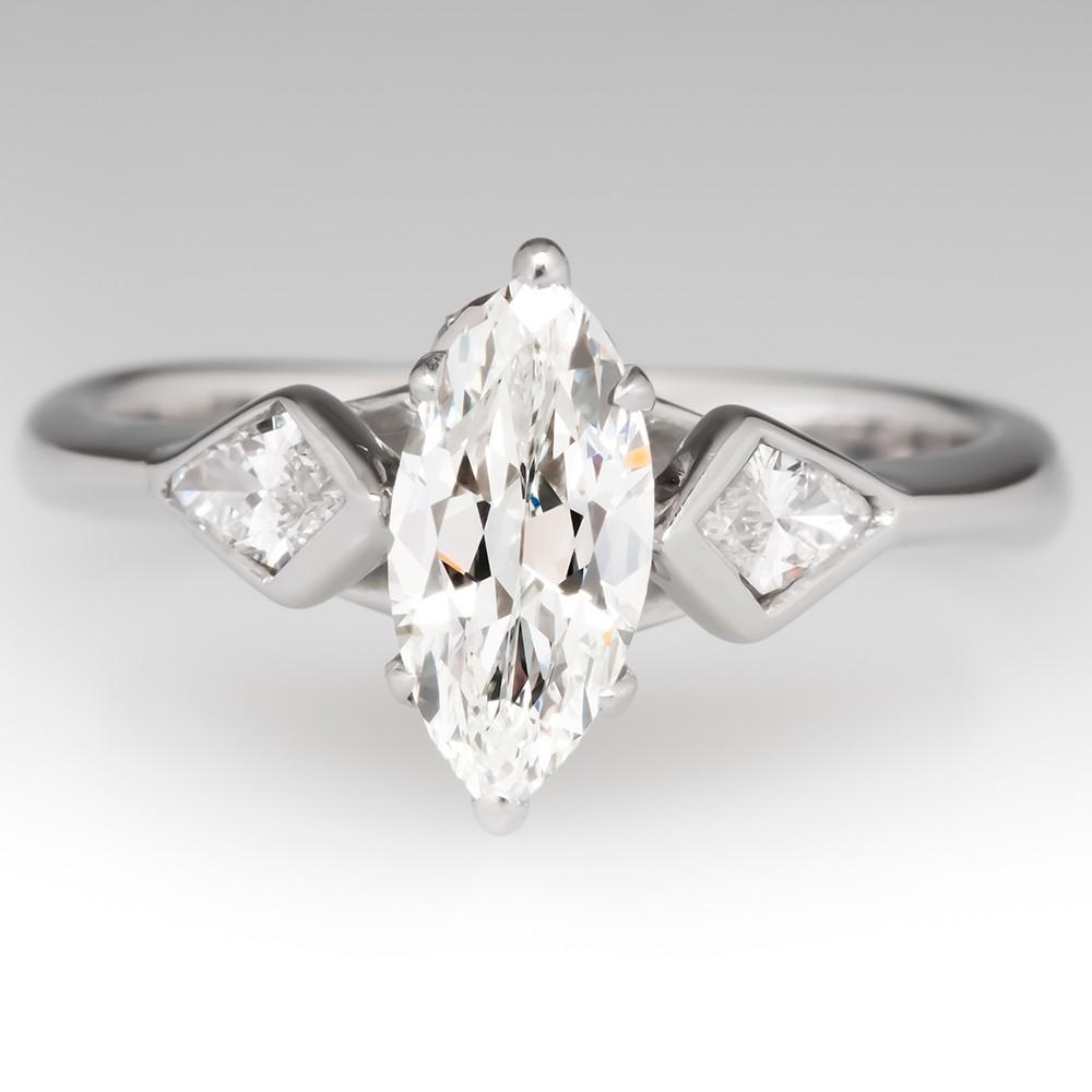 1 Carat Marquise Diamond Engagement Ring 14K White Gold