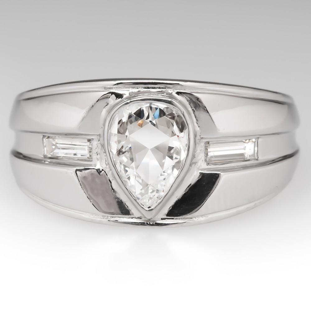 Vintage Rose Cut Diamond Wide Band Ring Platinum