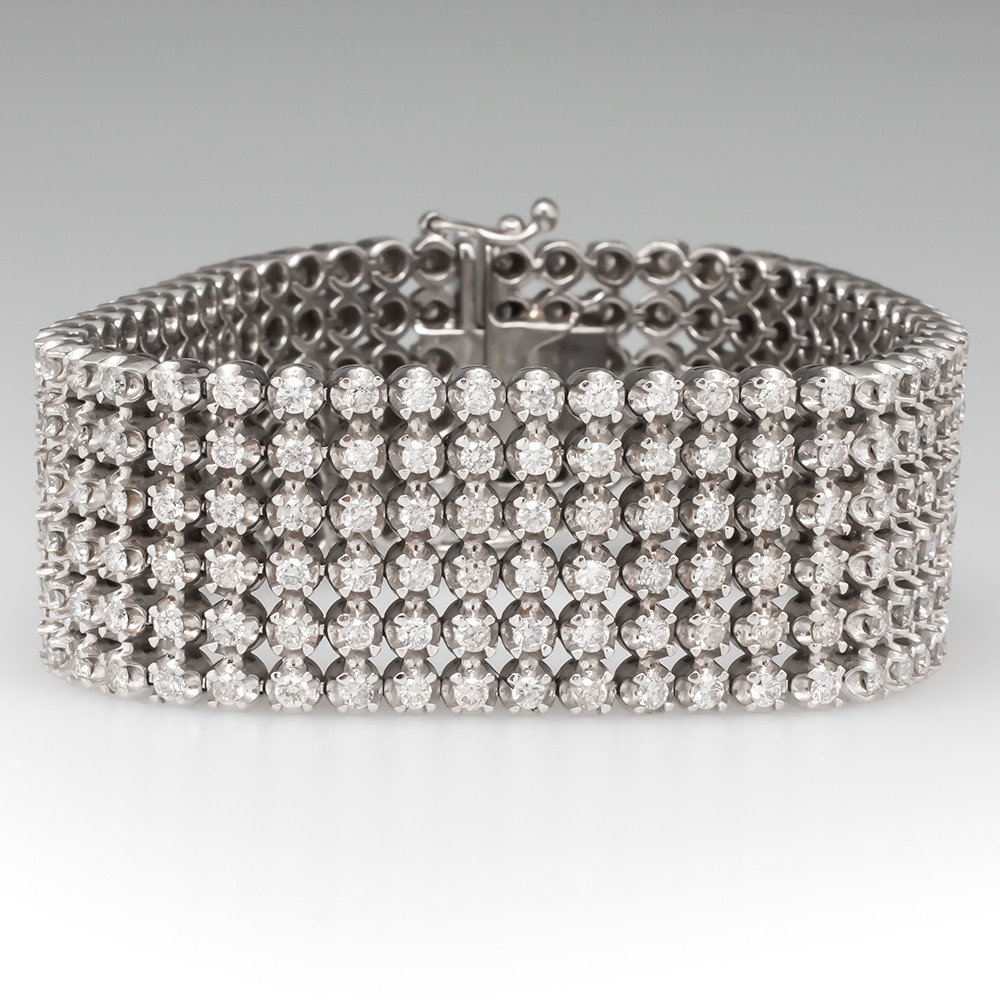 Stunning Wide Cuff Diamond Bracelet 13 Total Carats