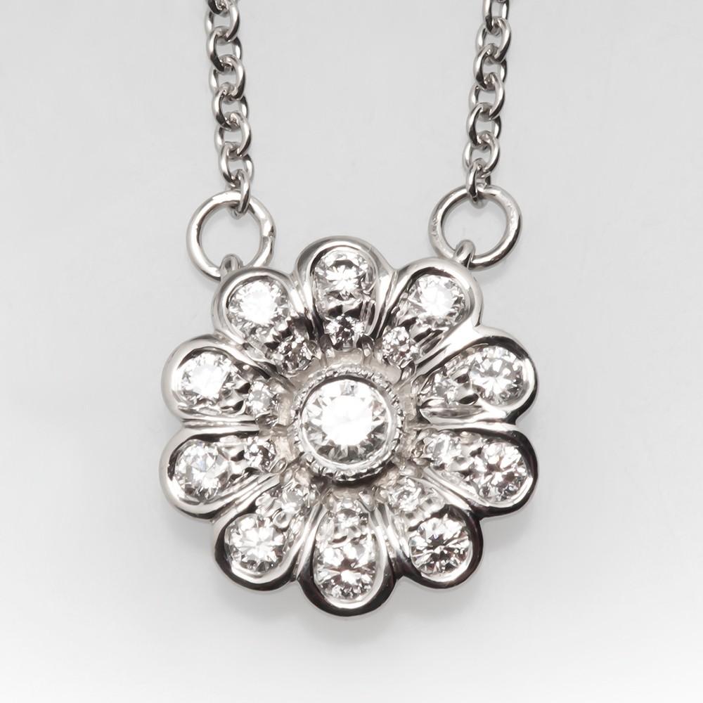 Tiffany co flower diamond pendant necklace platinum aloadofball Image collections