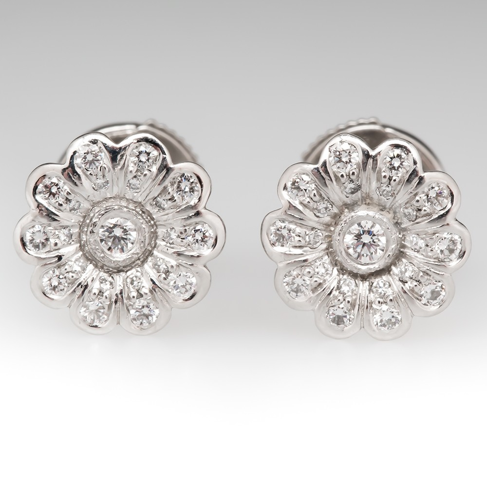 Tiffany & Co Flower Diamond Earrings Platinum