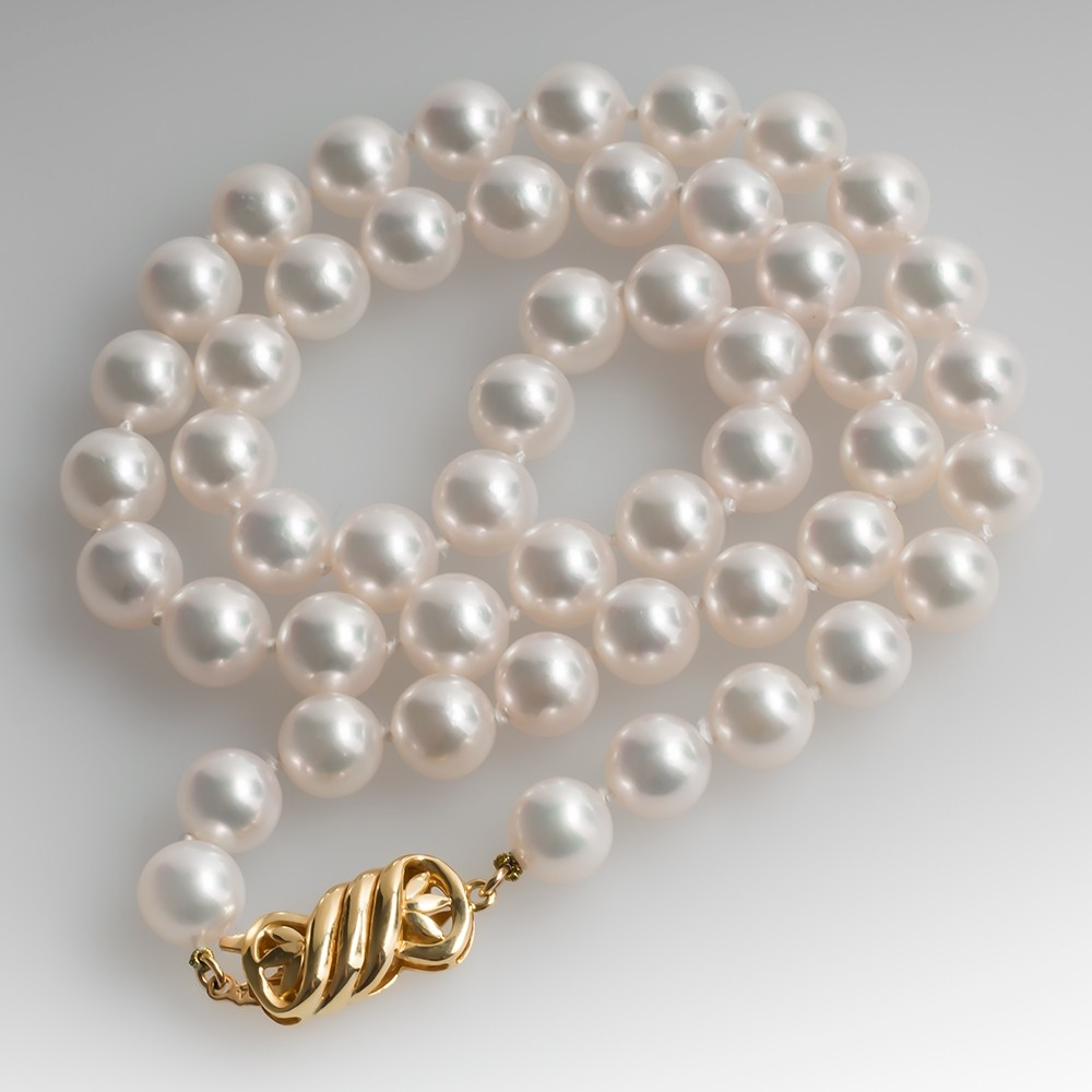 8mm Cultured Saltwater Pearl Strand Necklace 18K Gold Clasp 18 Inch