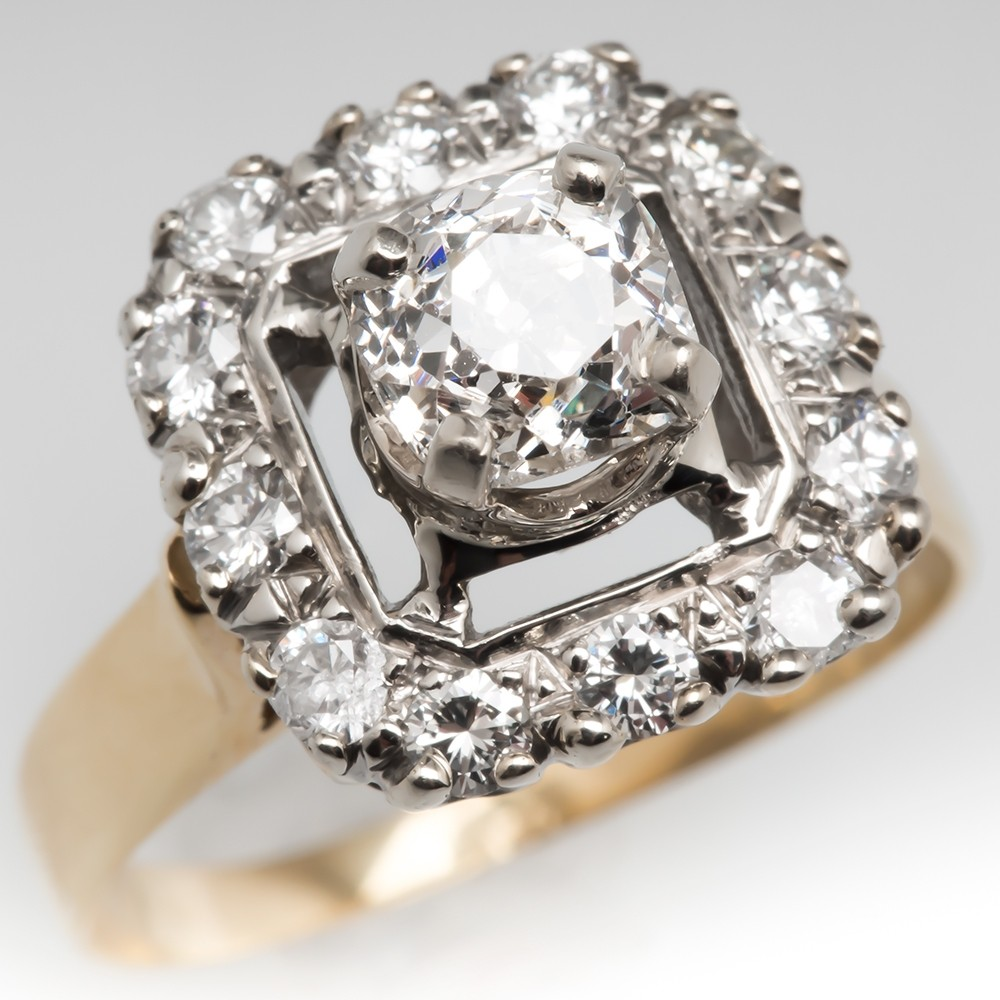 Vintage Old Diamond Ring 1 Carat Mine Cut 14K Gold