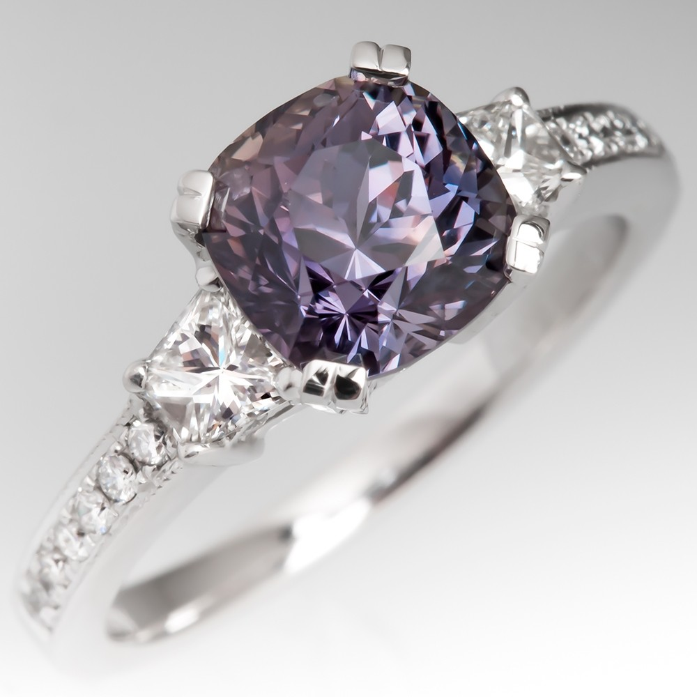No Heat Color Change Blue to Pink Sapphire Engagement Ring 14K White Gold