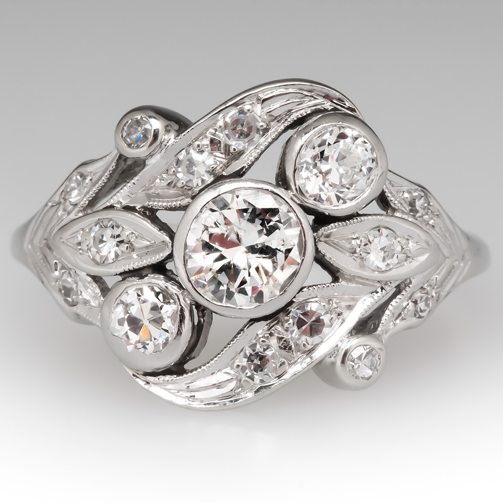 Vintage Low Profile Floral Diamond Ring 10K White Gold