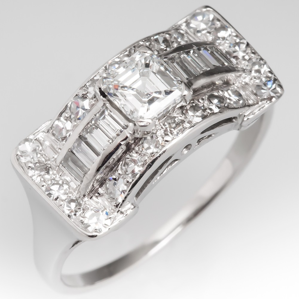 Unique Vintage Diamond Platinum Ring Low Profile, GIA