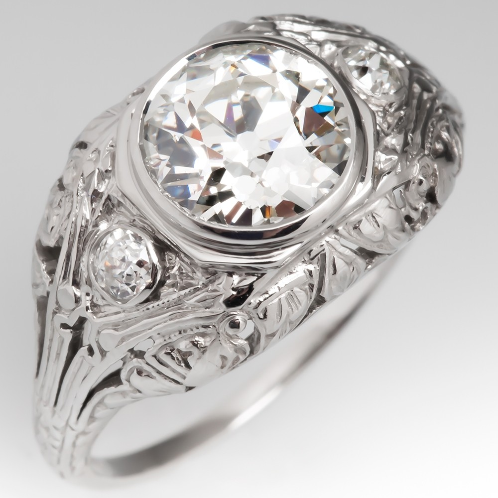 Antique Filigree Engagement Ring 1.5 Carat Old European Cut Diamond