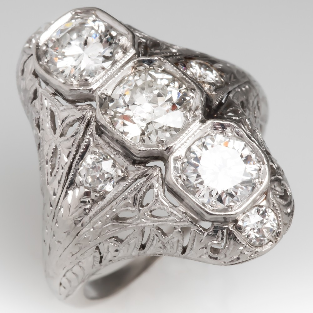 Art Deco Filigree North to South Three-Stone Diamond Ring