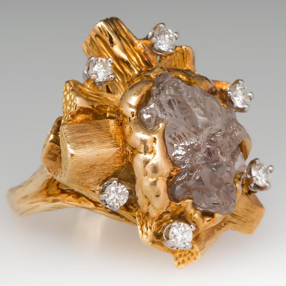 Rough Diamond Crystal Cocktail Ring 18K Gold Organic Motif