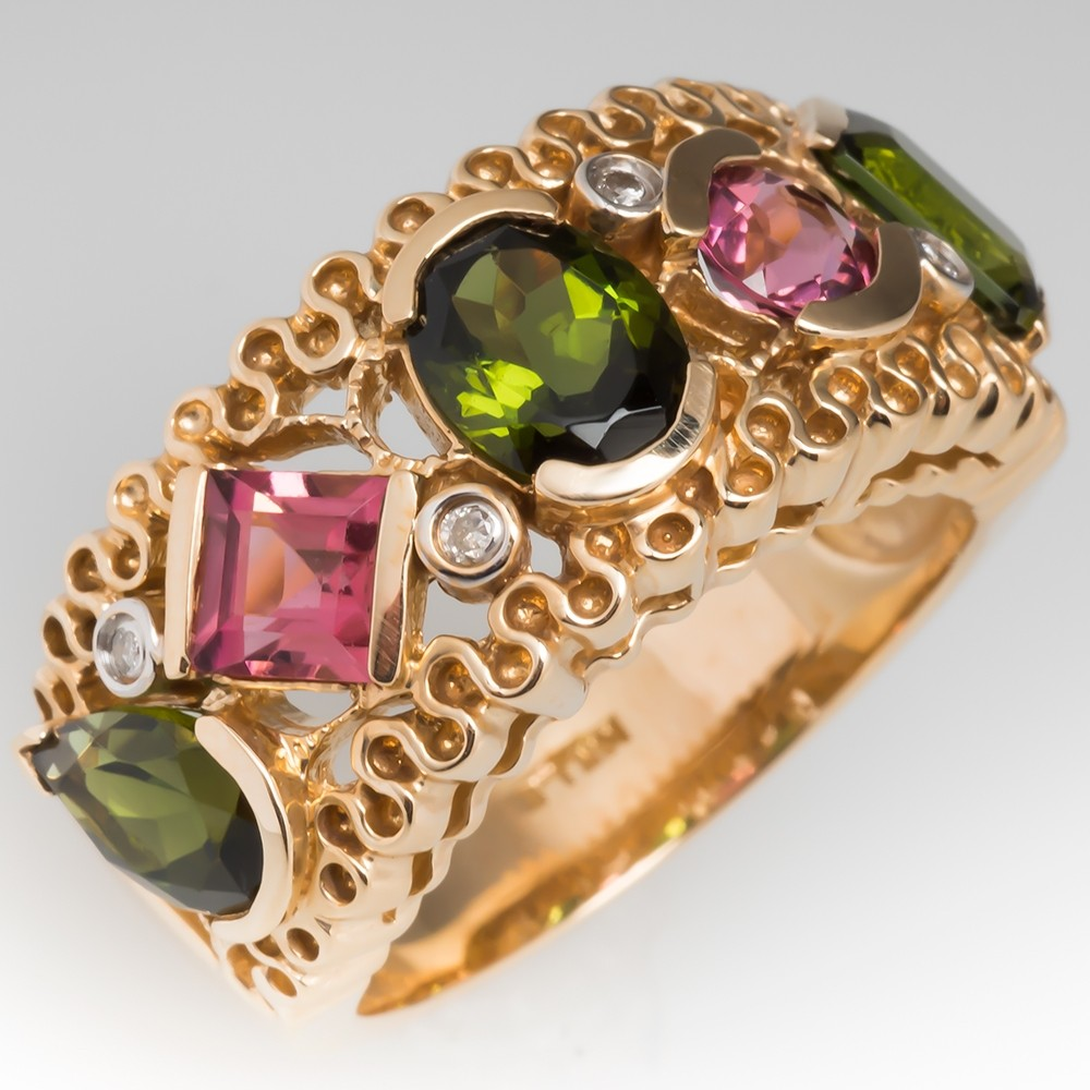 Pink & Green Tourmaline Wide Band Ring 14K Gold