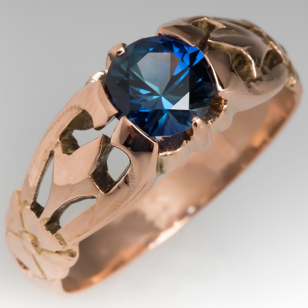 Vintage 14K Rose Gold Russian Mounting with Teal Sapphire