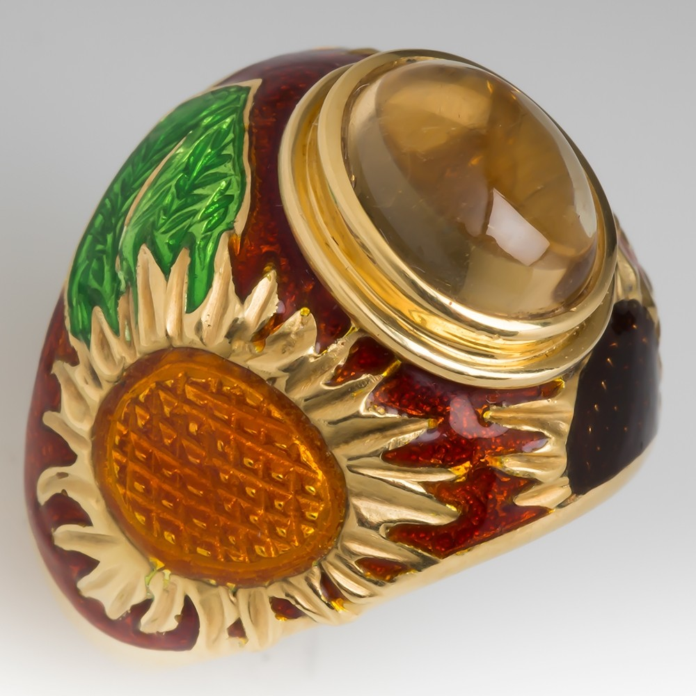 Cellini Citrine & Flower Enamel Cocktail Ring 18K Gold