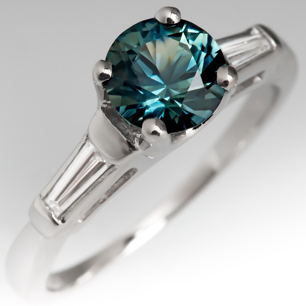 No Heat Blue-Green Sapphire Engagement Ring w/ Baguette Diamonds