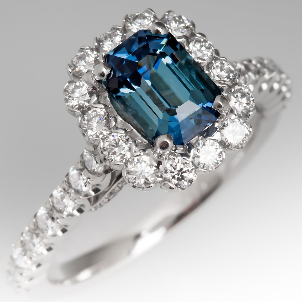 No Heat Emerald Cut Blue-Green Sapphire Halo Engagement Ring