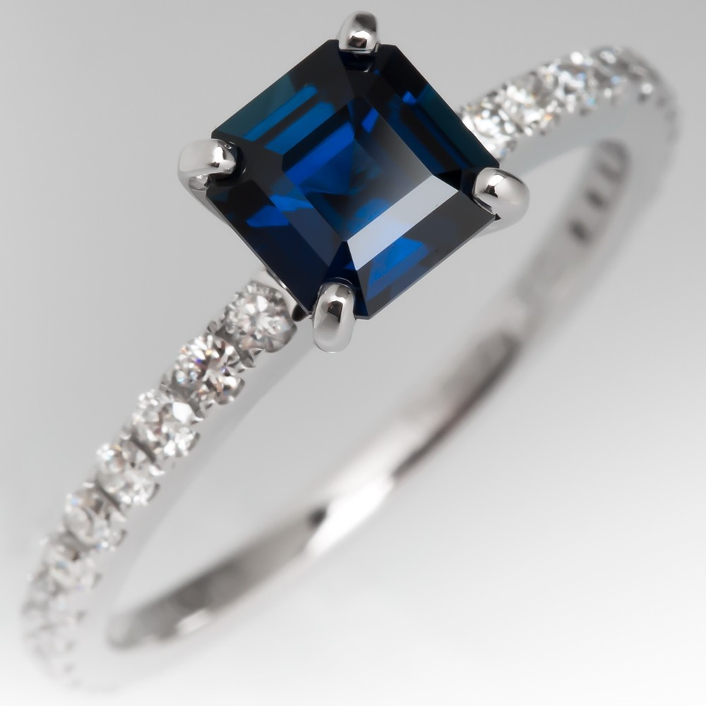 1 Carat Rich Teal Sapphire Engagement Ring w/ Diamonds 14K