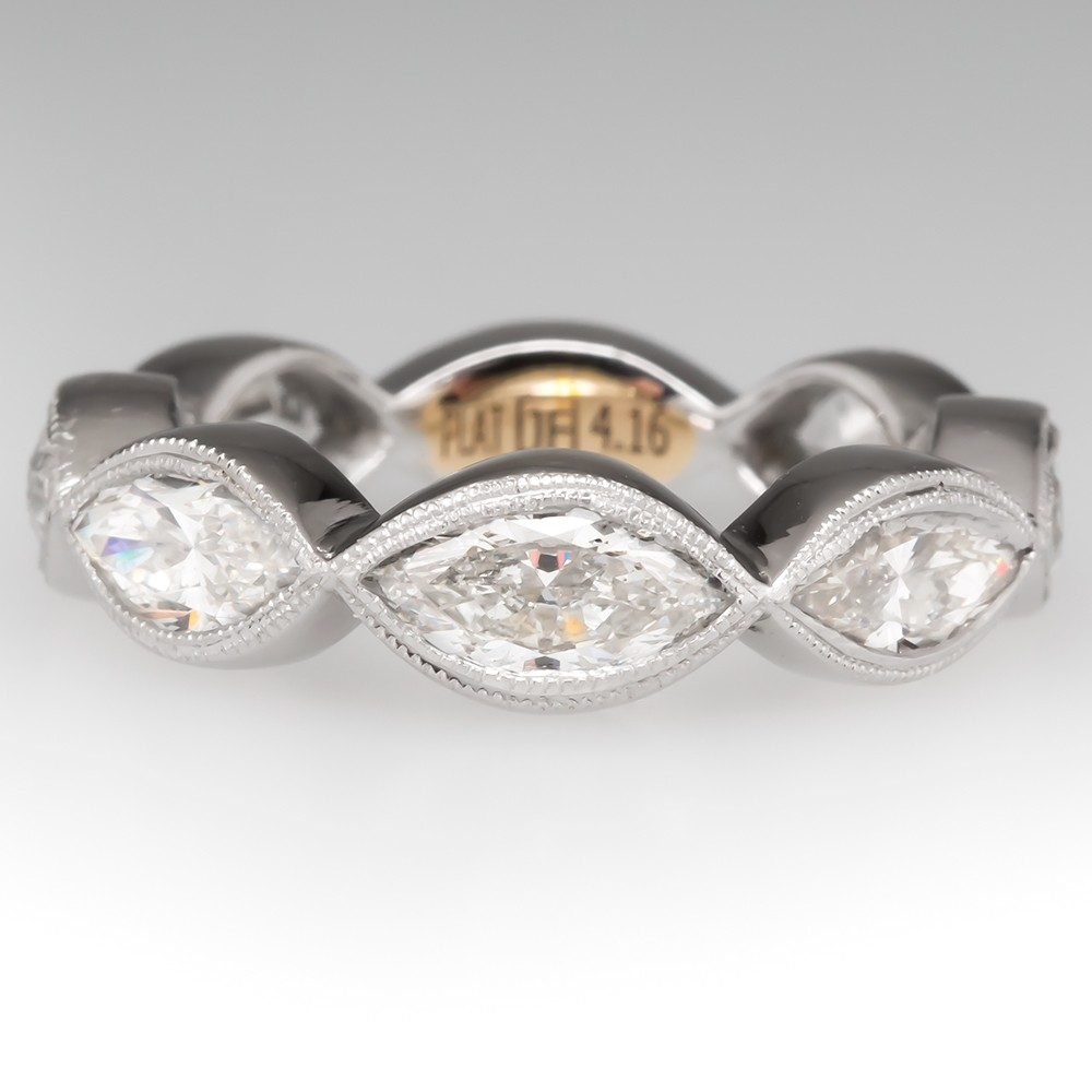 Bezel Set Marquise Diamond Band Ring Platinum 4CTW