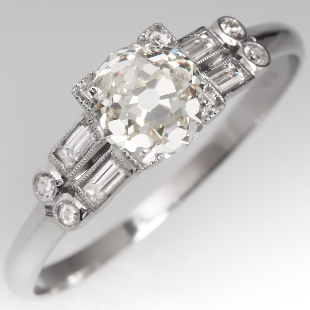 Old Mine Cut Diamond Engagement Ring 1930's Art Deco Mounting