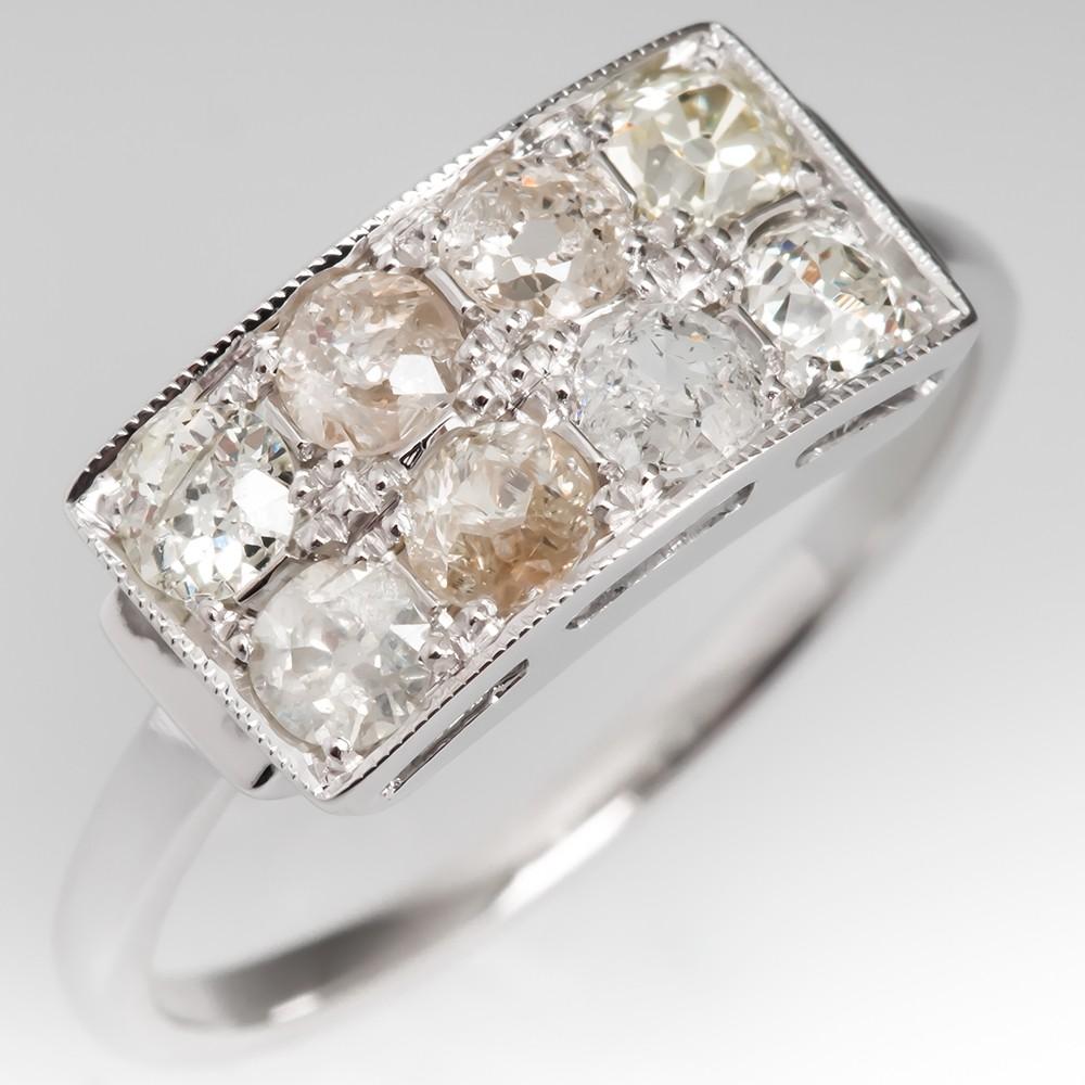 Art Deco Antique Diamond Anniversary Ring 14K White Gold