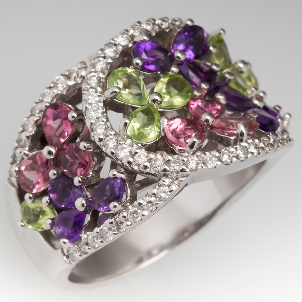 Tourmaline Amethyst Peridot & Diamond Wide Band Cocktail Ring