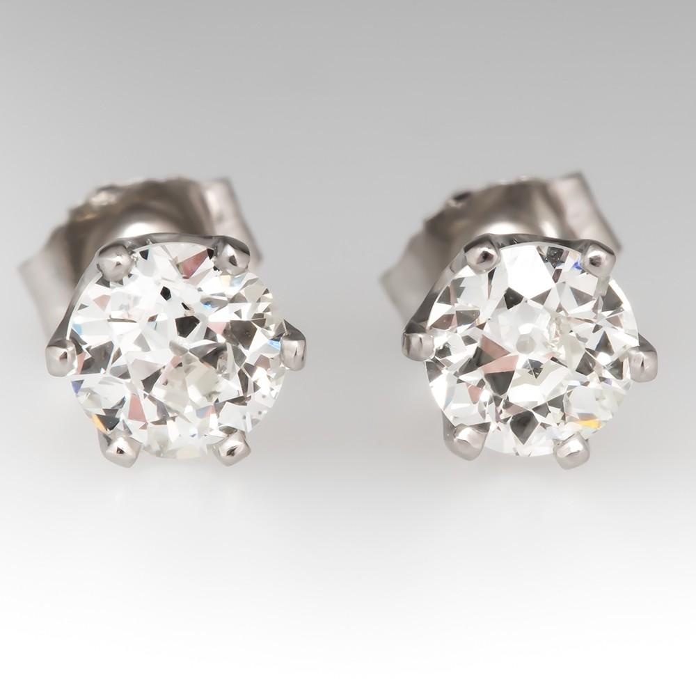 Crown 6-Prong Stud Earrings Old European Cut Diamonds Platinum