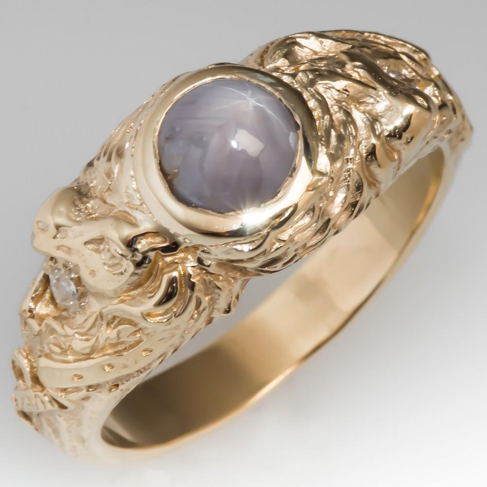 Vintage Mens Star Sapphire & Diamond Ring Horse Motif 14K Gold